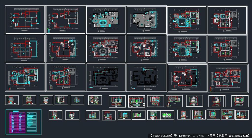 一套图纸完整CAD图纸别墅v图纸顺德图片