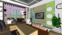 客厅带小型休闲区skp模型