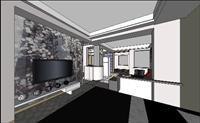大气亮丽的客厅SU(草图大师)精品室内场景模型